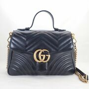 Gg Marmont Small Top Handle Bag Leather Black 498110 Quilting No.1712