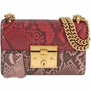 Padlock Python Small Chain Shoulder Bag Red Pink Gold Fittings No.220