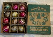 12 Vintage Shiny Brite Stencil Christmas Ornaments In Box Wwii Era Pink Old
