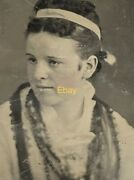 Pretty Young Woman Tin Type Photo Antique Picture Pink Cheeks Unusual Dress