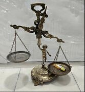 Antique Metal Angel Justice Scale Weight 1900 Hand Crafted Engraved Big Statue