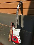 Vintage 60s Holiday Electric Guitar Harmony H-17andnbspsilvertone Bobkat Silhouette