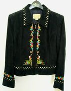 Scully Womens Black Leather Jacket Size M - Studded Embroidered Western Floral