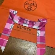 Hermes Twilly 2019 Sold Out Immediately Pink Check From Japan Fedex No.4697