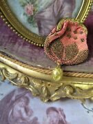 French Antique Pink Beaded Chatelaine Purse Tiny Miniature Antique Purse
