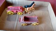 Vintage Auburn Rubber Wagons And Horses