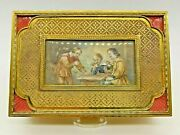 Antique French Gold Gilt Ormolu Guilloche Smokers Box Three Men Playing Dice