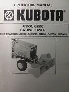 Kubota G3200 Garden Tractor Snow Thrower Implement G2500 Owner And Parts Manual