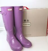 Hunter Tall Riding Rain Boots Glossy Thistle Size 11