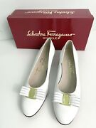 Salvatore Ferragamo Leather Pump Bow Low White Heels Shoes Womens Size 9 Aa