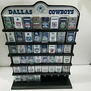 44 Danbury Mint Dallas Cowboys Flip Lighters Collection And Display Shelf Nice