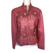 Siena Studio Womens Pink Leather Jacket Cut Out Floral Pattern Ribbon Size 6