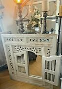 Whitewashed Hand Carved Wood Shutter Door Prison Mirror Balinese Farmhouse Chic