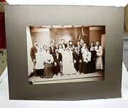 Antique Edwardian Wedding Bride Groom Party Family Group Photo Cabinet Card Cdv