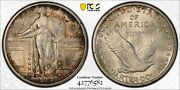 1917-p Type 1 Standing Liberty Quarter Pcgs Gold Shield Ms65 Fh Full Head Toned