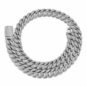 Solid 925 Sterling Silver Diamond Miami Cuban Choker Link Chain Necklace 14mm