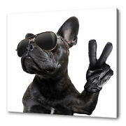 French Bulldog Peace Sign Funky Canvas Print Wall Art Picture Ready To Hang