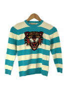 Angry Cat Sweater Thinness 8 Cotton Blu Border 497635 Previously No.1093