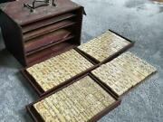 Chinese Table Game Mahjong Tile Set Antique Retro Finest Period Items Old
