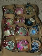 12 Vintage Poland Hand Blown Glass Indented Christmas Ornaments 4''