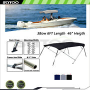 Scitoo 3bow Bimini Top Boat Cover 6ft Length 46 Heigth 61-96 W With Rear Pole