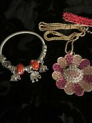 New Betsey Johnson Pink Crystal Lovely Sunflower Pendant Chain Necklace