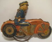 Old Marx Tin Wind Up Policeman Motorcycle - Parts