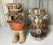 Vintage Handmade And Painted Man And Woman Native American Art Pottery Clay Vase