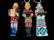 Lot Of 3 Russian Wooden Christmas Ornaments 4 1/2 Figures