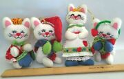 Vintage Bucilla 3 Little Kittens And Mom Cat Completed Sequin Felt Xmas Ornaments