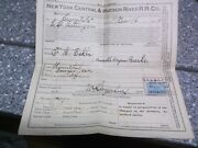 New York Central And Hudson R.r. Co 1899 Large Ticket Paperwork Hannibal N.y.