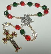 Christmas Single Decade Rosary W/ Nativity Centerpiece And St Benedict Crucifix