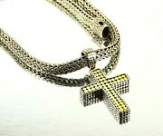John Hardy Sterling Silver 18k Gold Cross Reversible Pendant And Chain Necklace