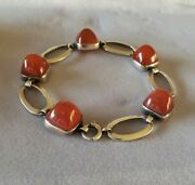 Beautiful Vintage Sterling Silver And Carnelian Inverted Stones Bracelet Deco