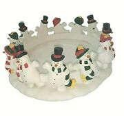 Partylite Frolicking Frostyand039s Snowman Large 3-wick Candle Holder 9.5w X 4t