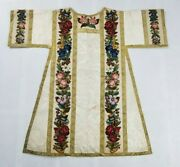 Antique French Hand Embroidered Church Dalmatic Chasuble Priest 110x102cm