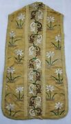 Antique 19thc French Hand Embroidered Church Vestment Chasuble Priest 114x60cm