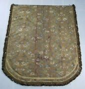 Antique French Church Cape Chasuble Priest Silver And Silk Brocade Panel 156x128cm