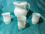 Vintage Kool-aid Man 2qt Pitcher With 3 Matching Drink Cups White Plastic Set