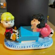 Rare Willitts Snoopy Lucy Schroeder Pottery Music Box