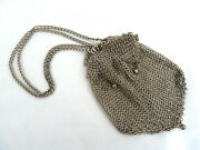 Antique Silver Chainmail Metal Mesh Purse W/ Drawstring Collar And Silver Balls