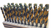 33 Pc Drill Set 1/2 -1 By 64 Black And Gold Sandd, Silver And Deming Huot Stand
