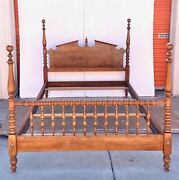 Vintage 1964 Ethan Allen Heirloom Full Sized Colonial Four Poster Pediment Bed