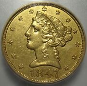 = 1847 Icg Au55 Details 5 Liberty Gold Piece Cleaned Free Shipping
