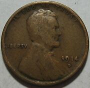 = 1914-d Vg Lincoln Wheat Cent Key Date Free Shipping