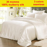 4pc 30mm 100 Mulberry Silk Duvet Cover Fitted / Bottom Sheets Pillow Cases Set