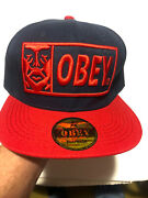 Obey Logo Hat Baseball Snapback Embroidered Red/navy