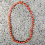 Vintage Salmon Coral Japan Graduated Beads Necklace 18k Gold Cameo Clasp 645 Gr