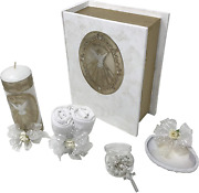 Catholic Baptism Kit In A Wooden Bible Box With Towel, Candle, Rosary And Shell