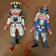 Vintage Nutcracker Wooden Christmas Ornaments Pull String 7 Lot Of 2 Taiwan